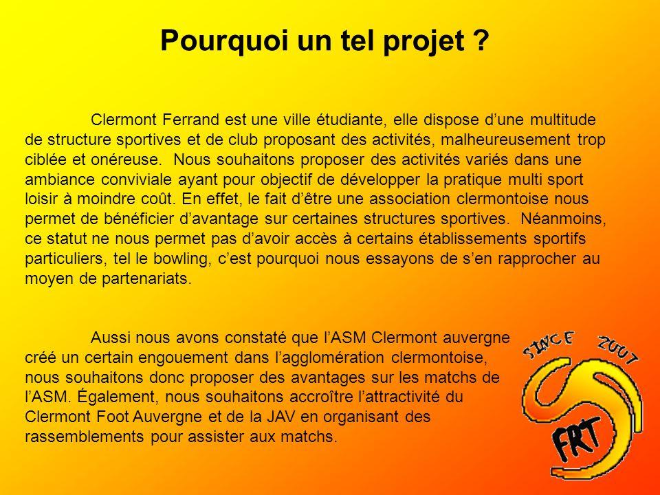 Pourquoi un tel projet ? Clermont Ferrand est une ville étudiante, elle dispose dune multitude de structure sportives et de club proposant des activit