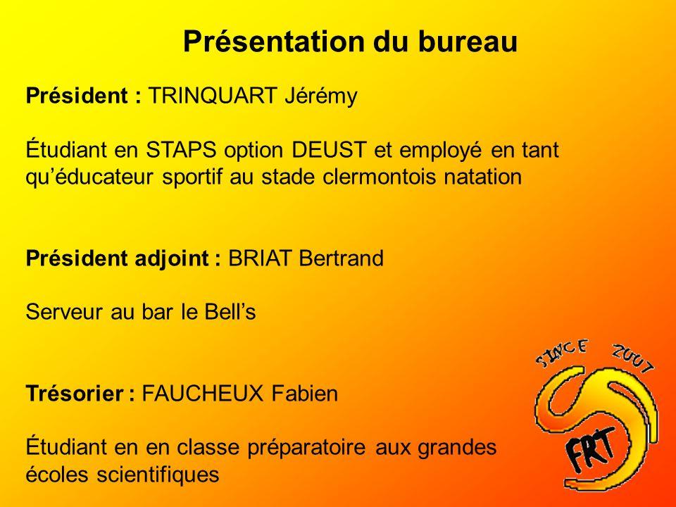 Présentation du bureau Président : TRINQUART Jérémy Étudiant en STAPS option DEUST et employé en tant quéducateur sportif au stade clermontois natatio
