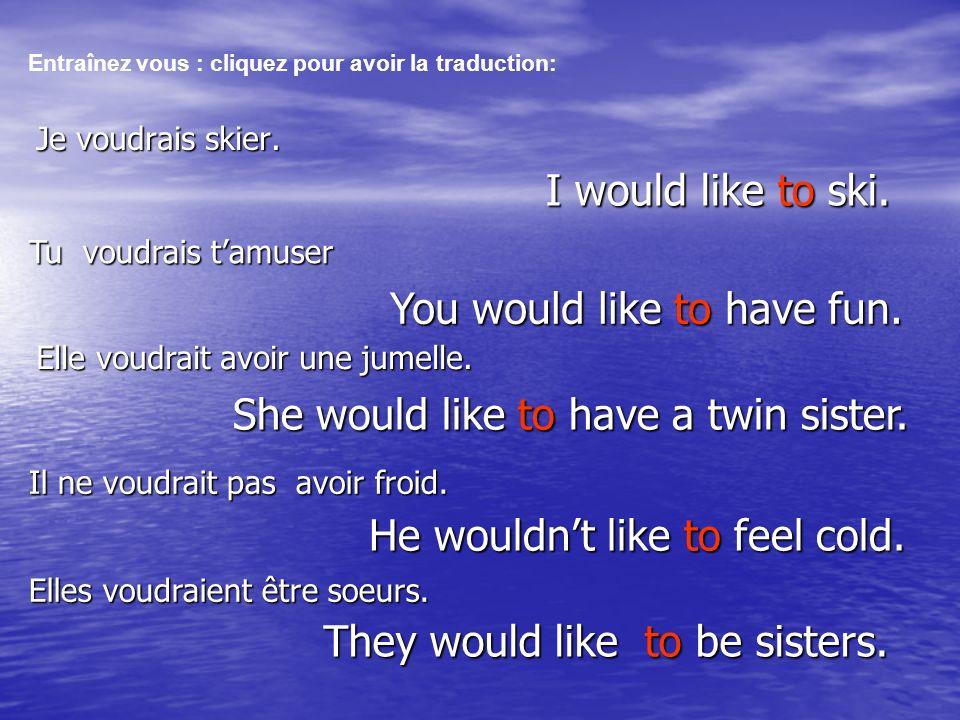 Je voudrais skier. I would like to ski. Entraînez vous : cliquez pour avoir la traduction: Il ne voudrait pas avoir froid. Elle voudrait avoir une jum