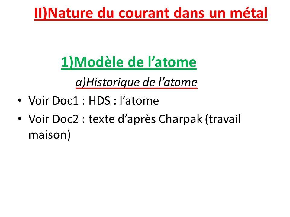 II)Nature du courant dans un métal 1)Modèle de latome a)Historique de latome Voir Doc1 : HDS : latome Voir Doc2 : texte daprès Charpak (travail maison) Un atome est constitué dun noyau autour duquel tournent des électrons.