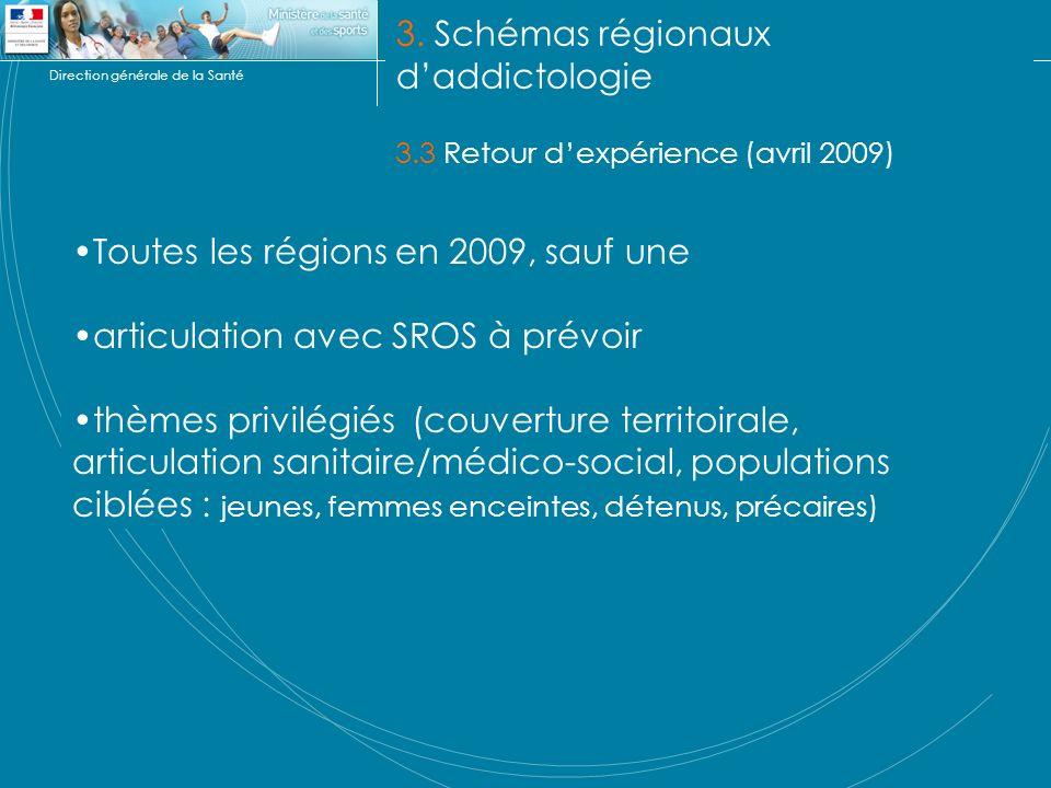 Direction générale de la Santé 3. Schémas régionaux daddictologie 3.3 Retour dexpérience (avril 2009) Toutes les régions en 2009, sauf une articulatio