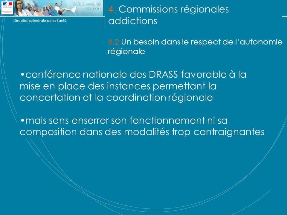 Direction générale de la Santé 4. Commissions régionales addictions 4.2 Un besoin dans le respect de lautonomie régionale conférence nationale des DRA