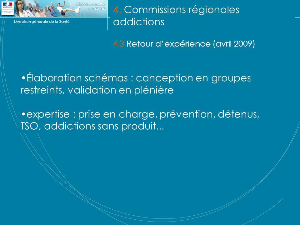 Direction générale de la Santé 4. Commissions régionales addictions 4.3 Retour dexpérience (avril 2009) Élaboration schémas : conception en groupes re