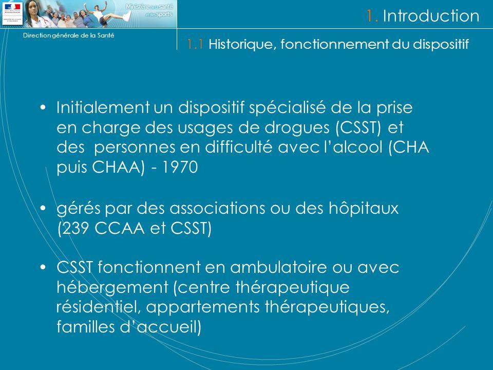 Direction générale de la Santé 1. Introduction 1.1 Historique, fonctionnement du dispositif Initialement un dispositif spécialisé de la prise en charg
