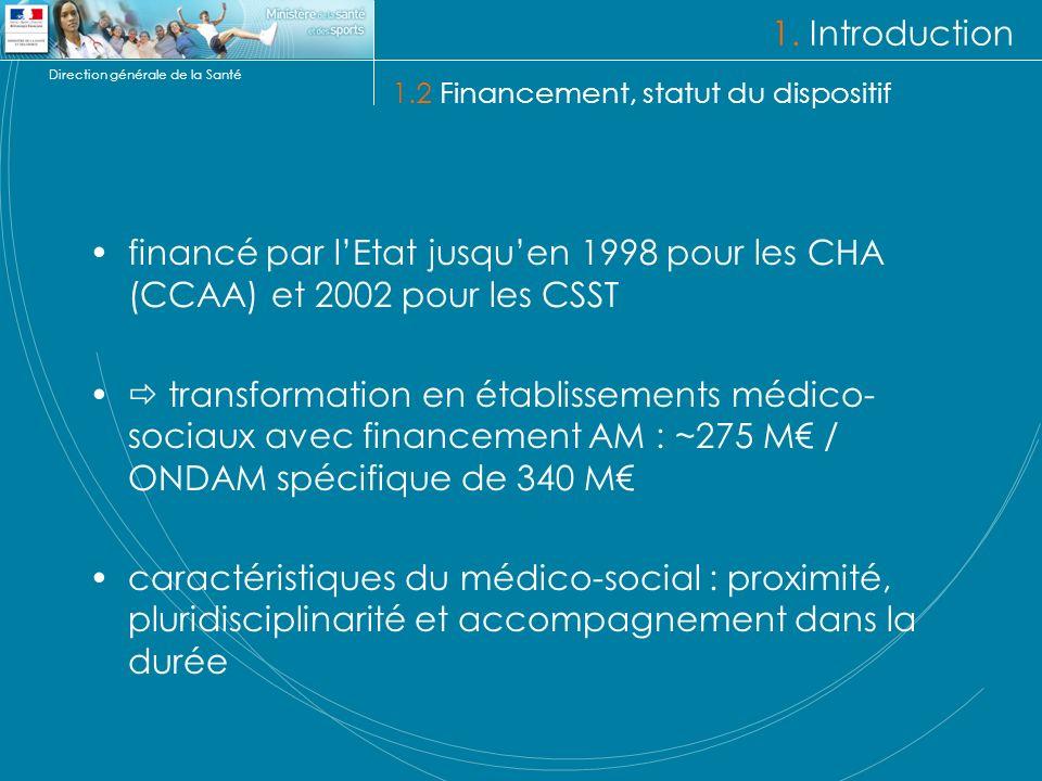 Direction générale de la Santé financé par lEtat jusquen 1998 pour les CHA (CCAA) et 2002 pour les CSST transformation en établissements médico- sociaux avec financement AM : ~275 M / ONDAM spécifique de 340 M caractéristiques du médico-social : proximité, pluridisciplinarité et accompagnement dans la durée 1.