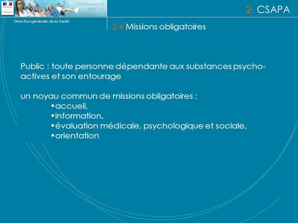 Direction générale de la Santé 2. CSAPA 2.4 Missions obligatoires Public : toute personne dépendante aux substances psycho- actives et son entourage u