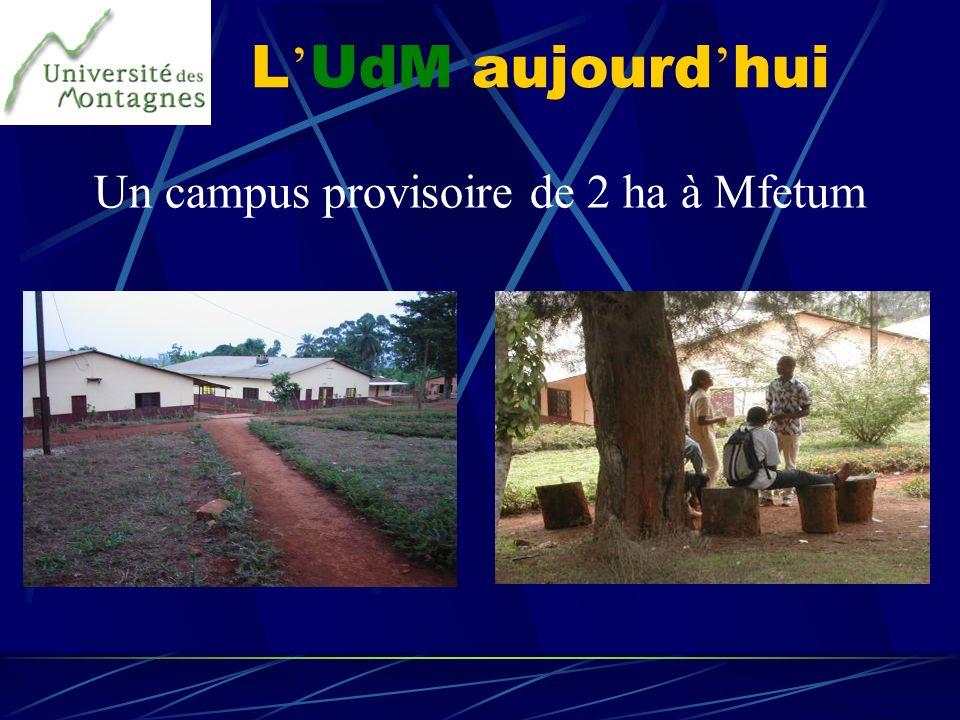 L UdM aujourd hui Un campus provisoire de 2 ha à Mfetum
