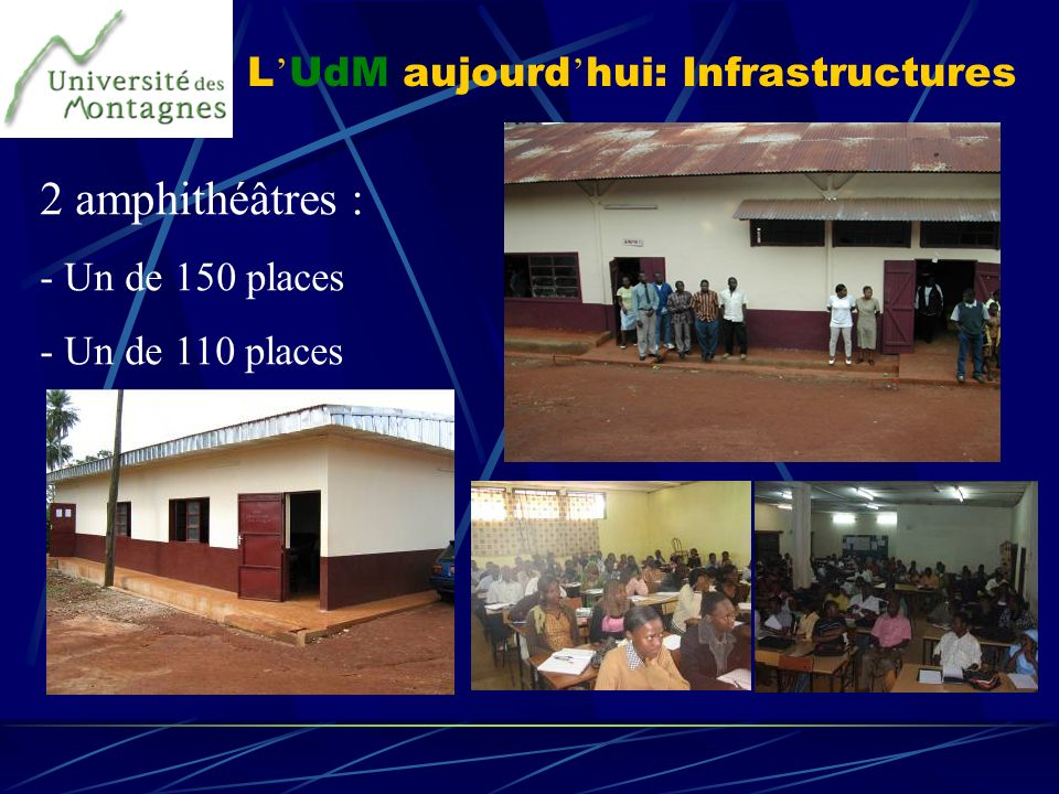 L UdM aujourd hui: Infrastructures 2 amphithéâtres : - Un de 150 places - Un de 110 places