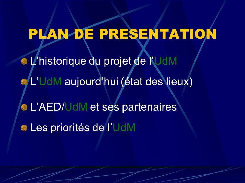 PLAN DE PRESENTATION Lhistorique du projet de lUdM LUdM aujourdhui (état des lieux) LAED/UdM et ses partenaires Les priorités de lUdM
