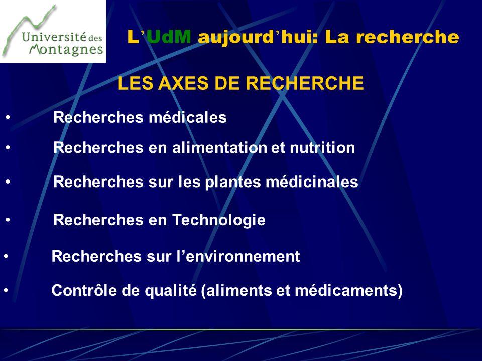 L UdM aujourd hui: La recherche LES AXES DE RECHERCHE Recherches médicales Recherches en alimentation et nutrition Recherches sur les plantes médicina