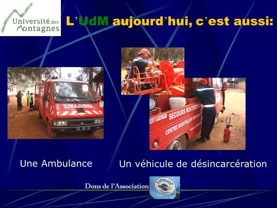 L UdM aujourd hui, c est aussi: Une Ambulance Un véhicule de désincarcération Dons de lAssociation