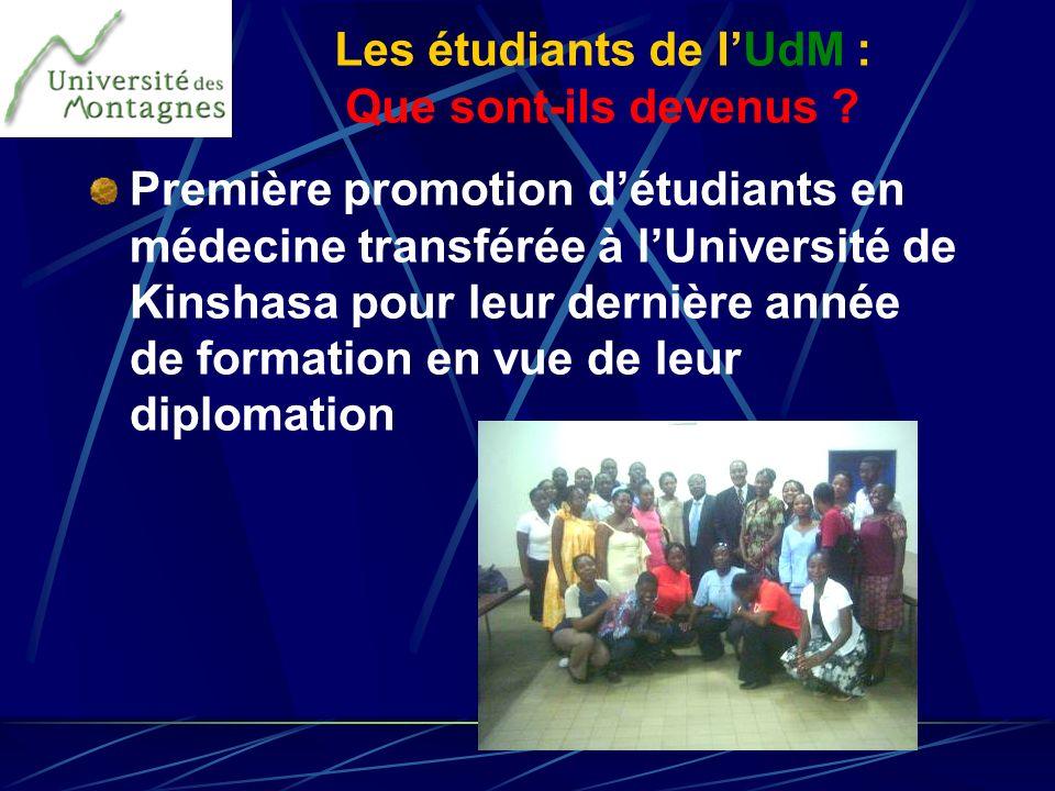 Première promotion détudiants en médecine transférée à lUniversité de Kinshasa pour leur dernière année de formation en vue de leur diplomation Les ét