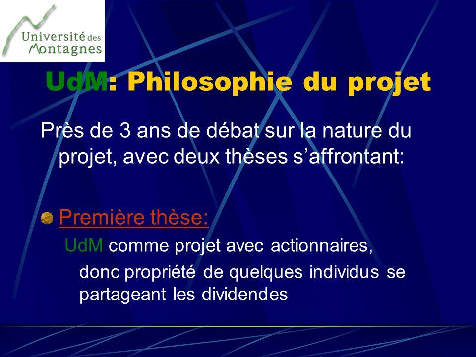 UdM: Philosophie du projet Près de 3 ans de débat sur la nature du projet, avec deux thèses saffrontant: Première thèse: UdM comme projet avec actionn