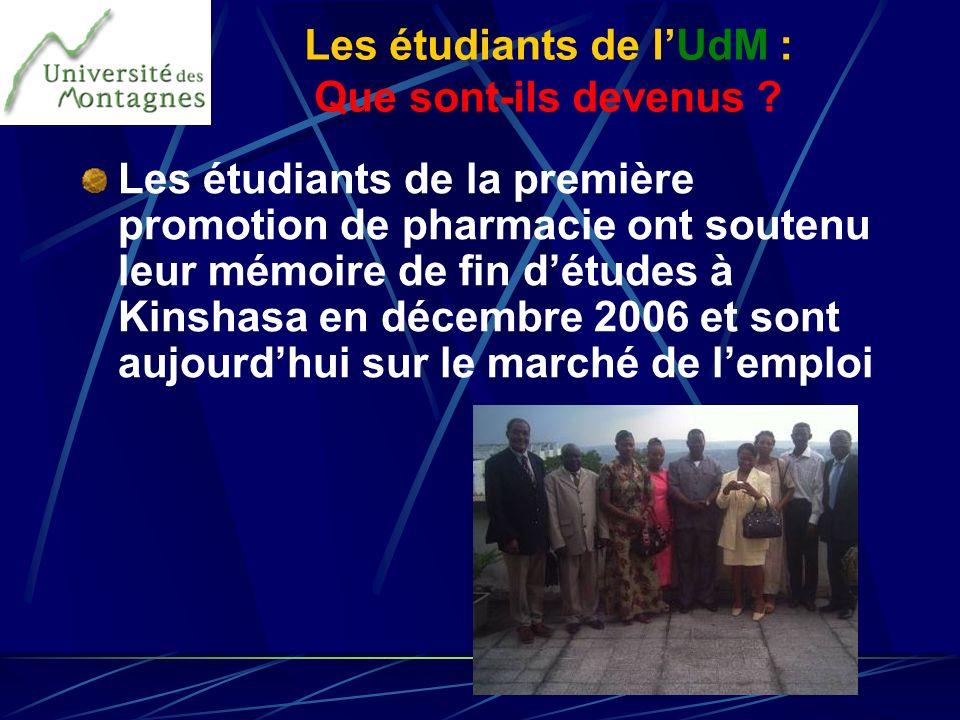 Les étudiants de la première promotion de pharmacie ont soutenu leur mémoire de fin détudes à Kinshasa en décembre 2006 et sont aujourdhui sur le marc