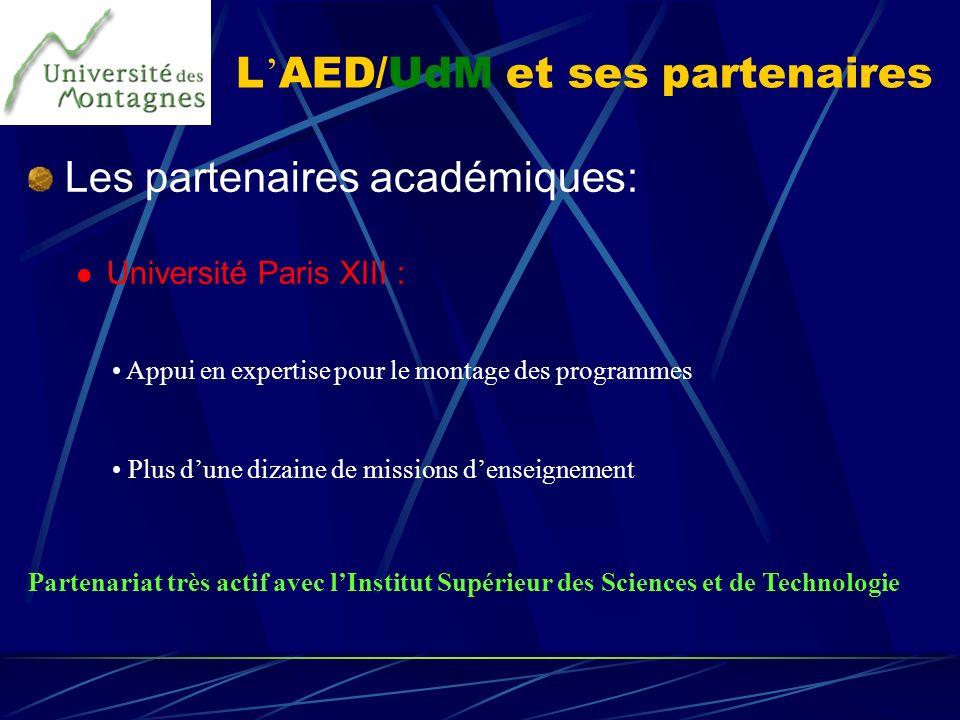 L AED/UdM et ses partenaires Les partenaires académiques: Université Paris XIII : Appui en expertise pour le montage des programmes Plus dune dizaine