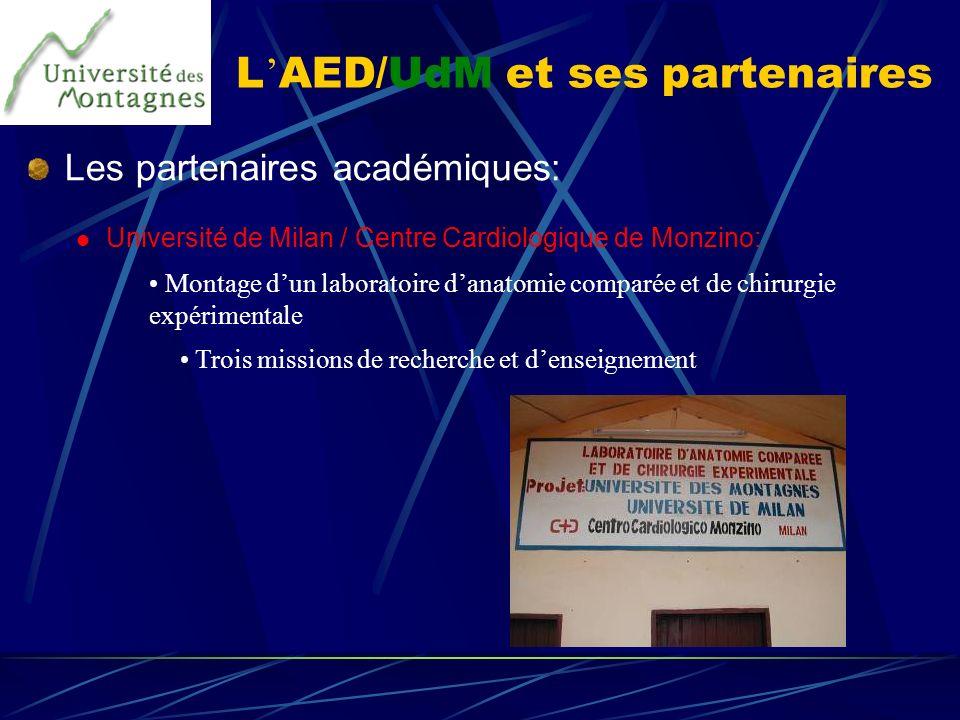 L AED/UdM et ses partenaires Les partenaires académiques: Université de Milan / Centre Cardiologique de Monzino: Montage dun laboratoire danatomie com