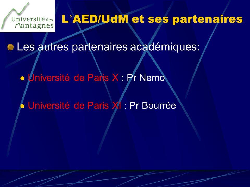 L AED/UdM et ses partenaires Les autres partenaires académiques: Université de Paris X : Pr Nemo Université de Paris XI : Pr Bourrée