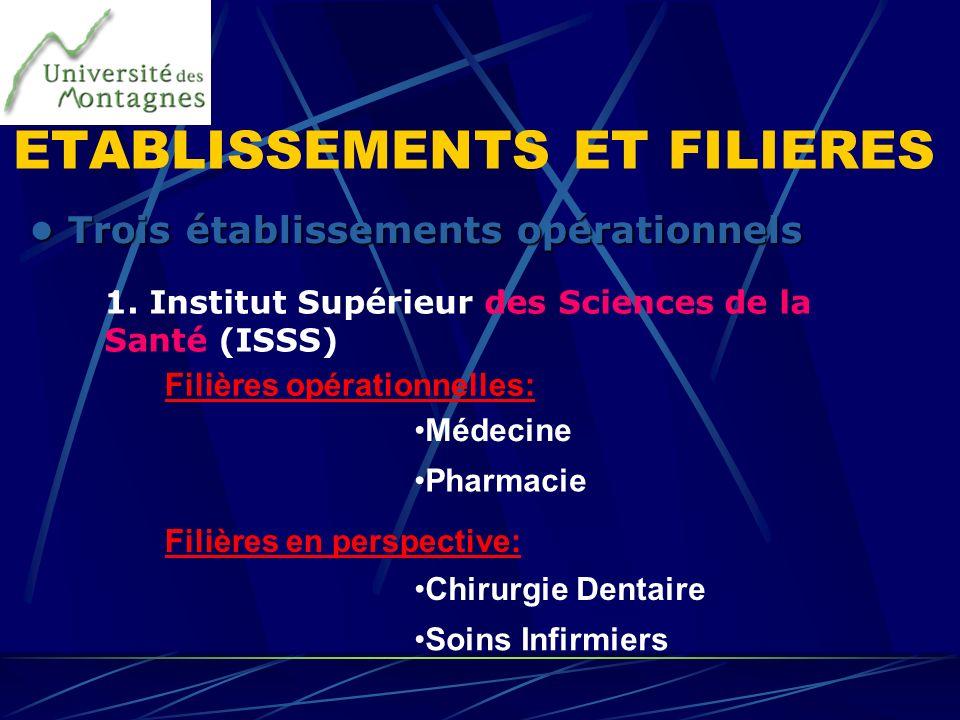 1. Institut Supérieur des Sciences de la Santé (ISSS) Trois établissements opérationnels Trois établissements opérationnels Filières opérationnelles: