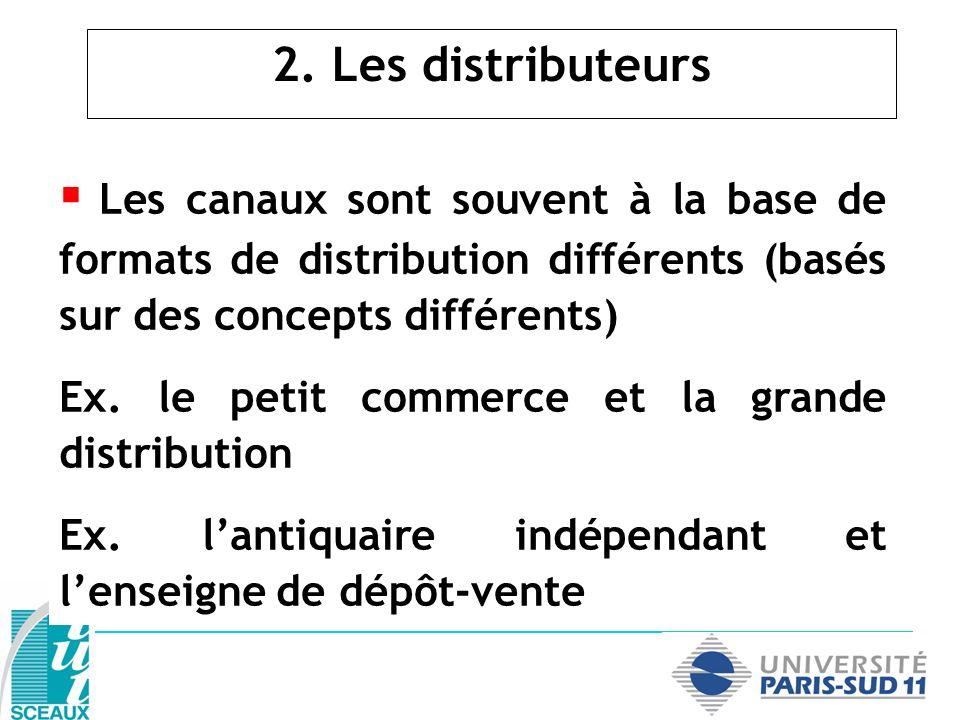 2. Les distributeurs Les canaux sont souvent à la base de formats de distribution différents (basés sur des concepts différents) Ex. le petit commerce