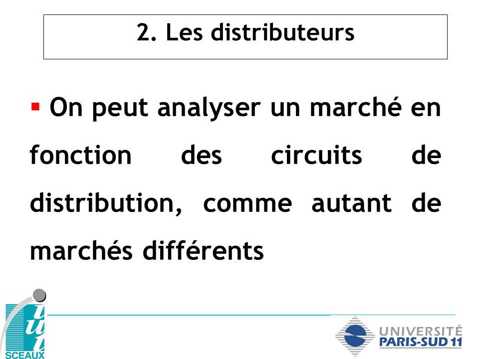 2. Les distributeurs On peut analyser un marché en fonction des circuits de distribution, comme autant de marchés différents