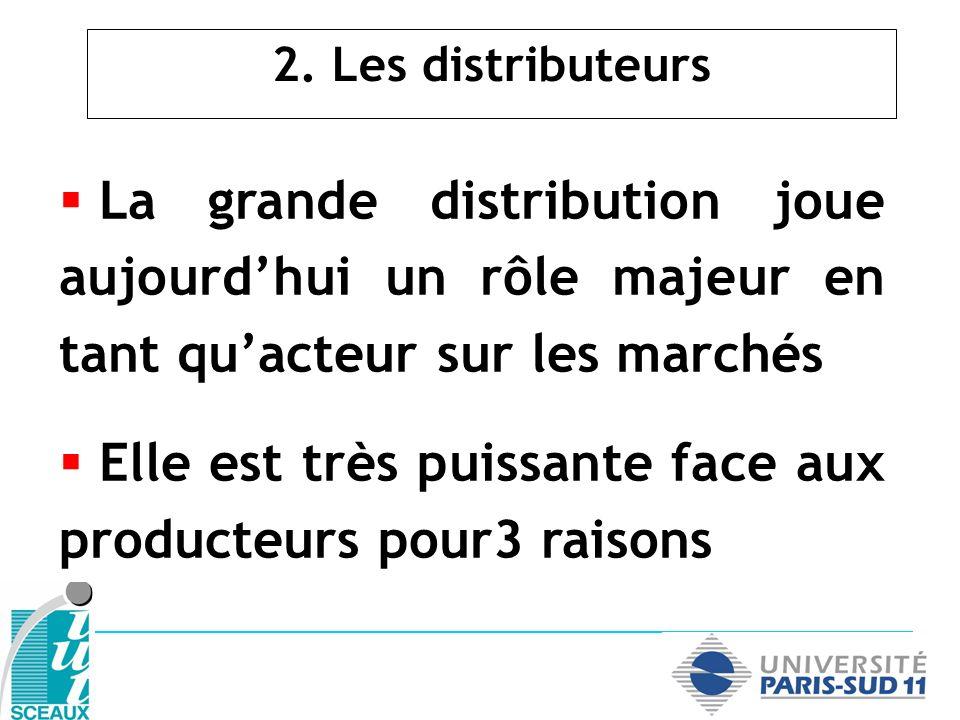 2. Les distributeurs La grande distribution joue aujourdhui un rôle majeur en tant quacteur sur les marchés Elle est très puissante face aux producteu