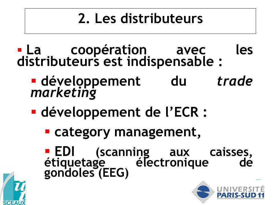 2. Les distributeurs La coopération avec les distributeurs est indispensable : développement du trade marketing développement de lECR : category manag