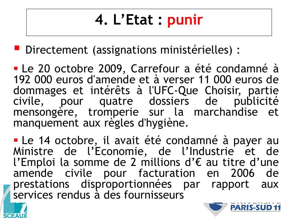 4. LEtat : punir Directement (assignations ministérielles) : Le 20 octobre 2009, Carrefour a été condamné à 192 000 euros d'amende et à verser 11 000