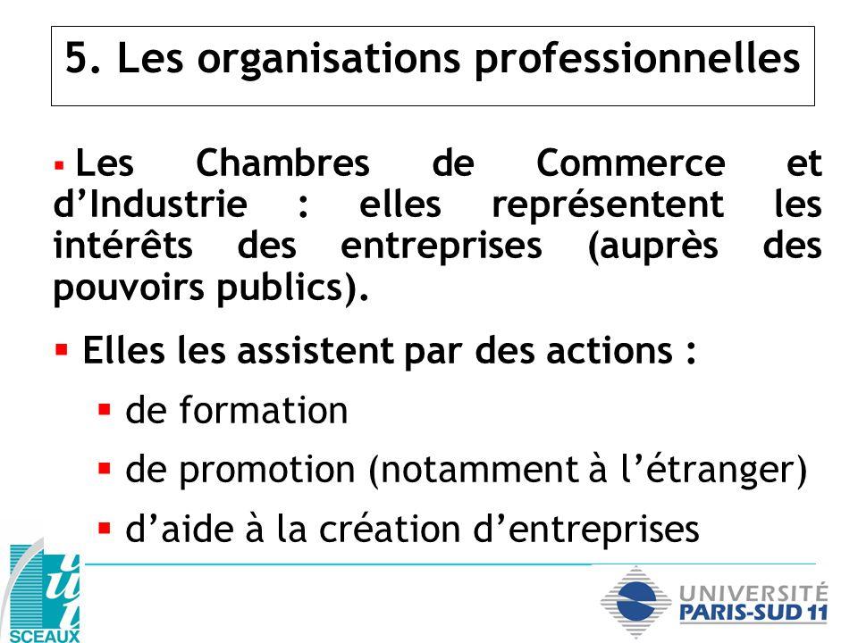 5. Les organisations professionnelles Les Chambres de Commerce et dIndustrie : elles représentent les intérêts des entreprises (auprès des pouvoirs pu