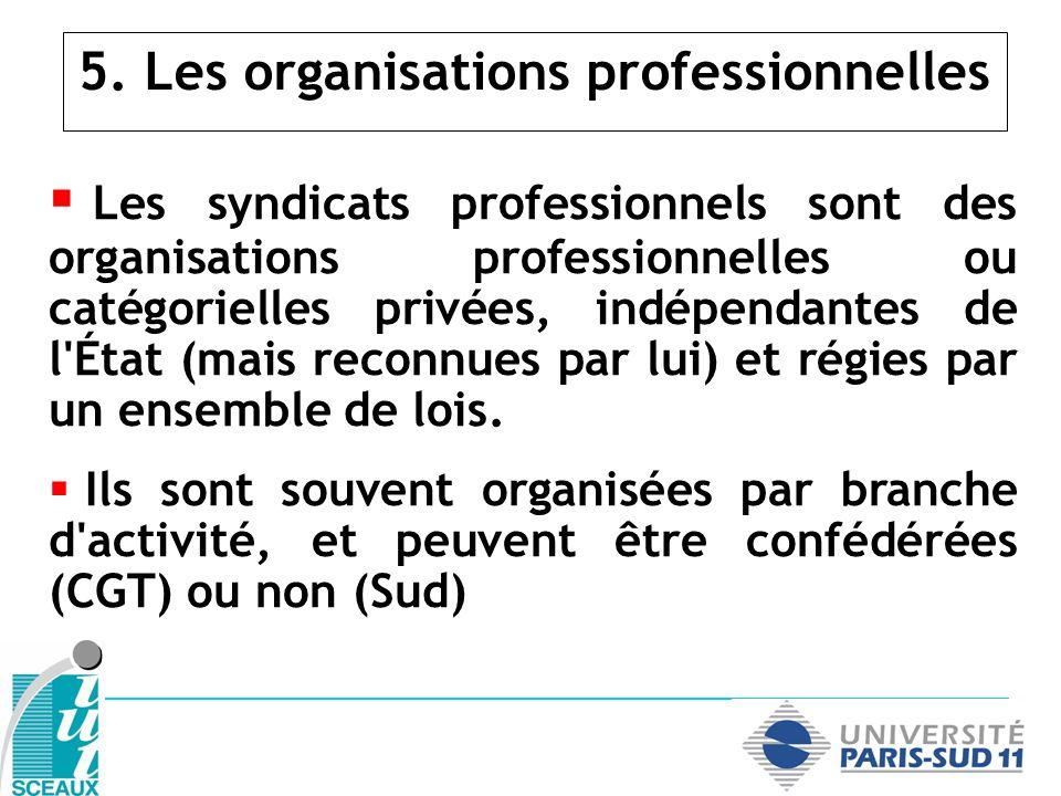 5. Les organisations professionnelles Les syndicats professionnels sont des organisations professionnelles ou catégorielles privées, indépendantes de