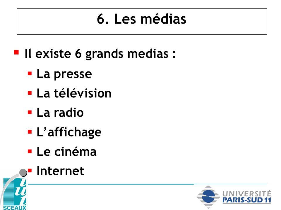 6. Les médias Il existe 6 grands medias : La presse La télévision La radio Laffichage Le cinéma Internet