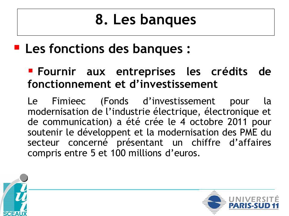 8. Les banques Les fonctions des banques : Fournir aux entreprises les crédits de fonctionnement et dinvestissement Le Fimieec (Fonds dinvestissement