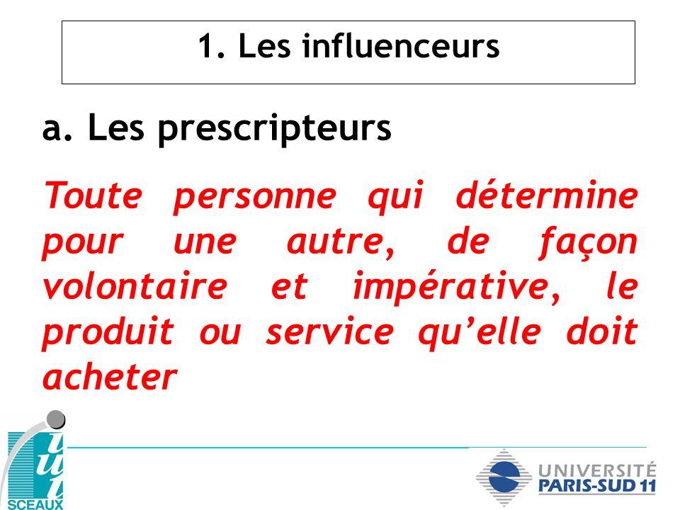 a. Les prescripteurs Toute personne qui détermine pour une autre, de façon volontaire et impérative, le produit ou service quelle doit acheter 1. Les