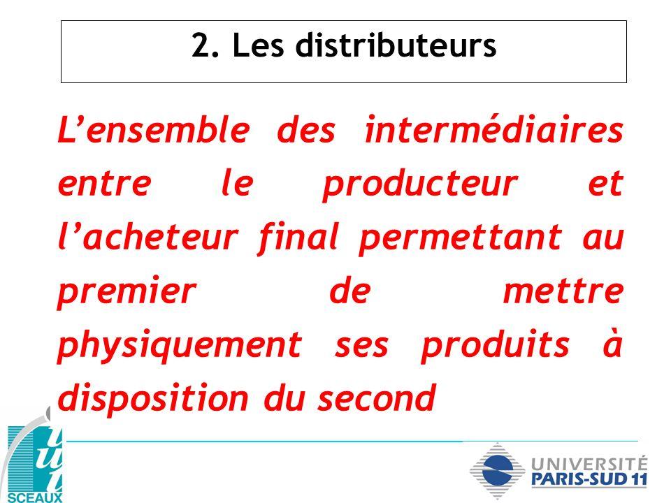 2. Les distributeurs Lensemble des intermédiaires entre le producteur et lacheteur final permettant au premier de mettre physiquement ses produits à d