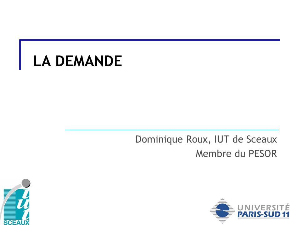 Définition de la demande Les différents types de clientèle (B2C et B2B) et leurs particularités Les approches quantitatives de la demande (marché actuel, potentiel, théorique) Les approches qualitatives de la demande Les notions délasticité