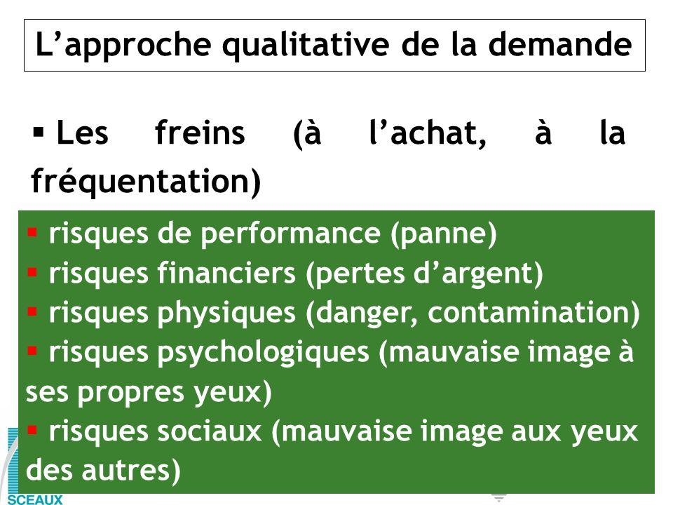 Lapproche qualitative de la demande Les freins (à lachat, à la fréquentation) risques de performance (panne) risques financiers (pertes dargent) risqu