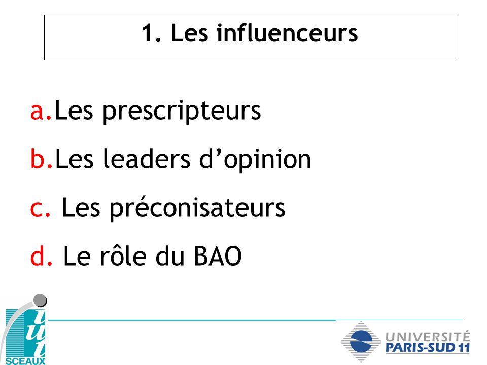 a.Les prescripteurs b.Les leaders dopinion c. Les préconisateurs d.