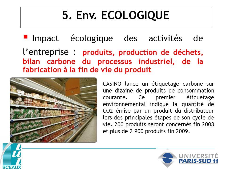 Impact écologique des activités de lentreprise : produits, production de déchets, bilan carbone du processus industriel, de la fabrication à la fin de