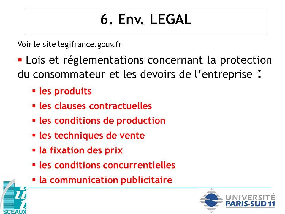 Voir le site legifrance.gouv.fr Lois et réglementations concernant la protection du consommateur et les devoirs de lentreprise : les produits les clau