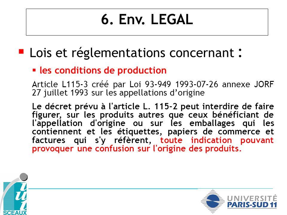 Lois et réglementations concernant : les conditions de production Article L115-3 créé par Loi 93-949 1993-07-26 annexe JORF 27 juillet 1993 sur les ap