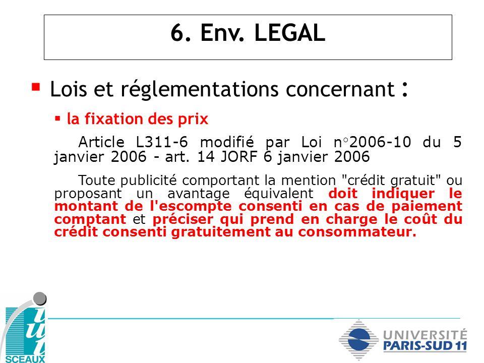 Lois et réglementations concernant : la fixation des prix Article L311-6 modifié par Loi n°2006-10 du 5 janvier 2006 - art. 14 JORF 6 janvier 2006 Tou