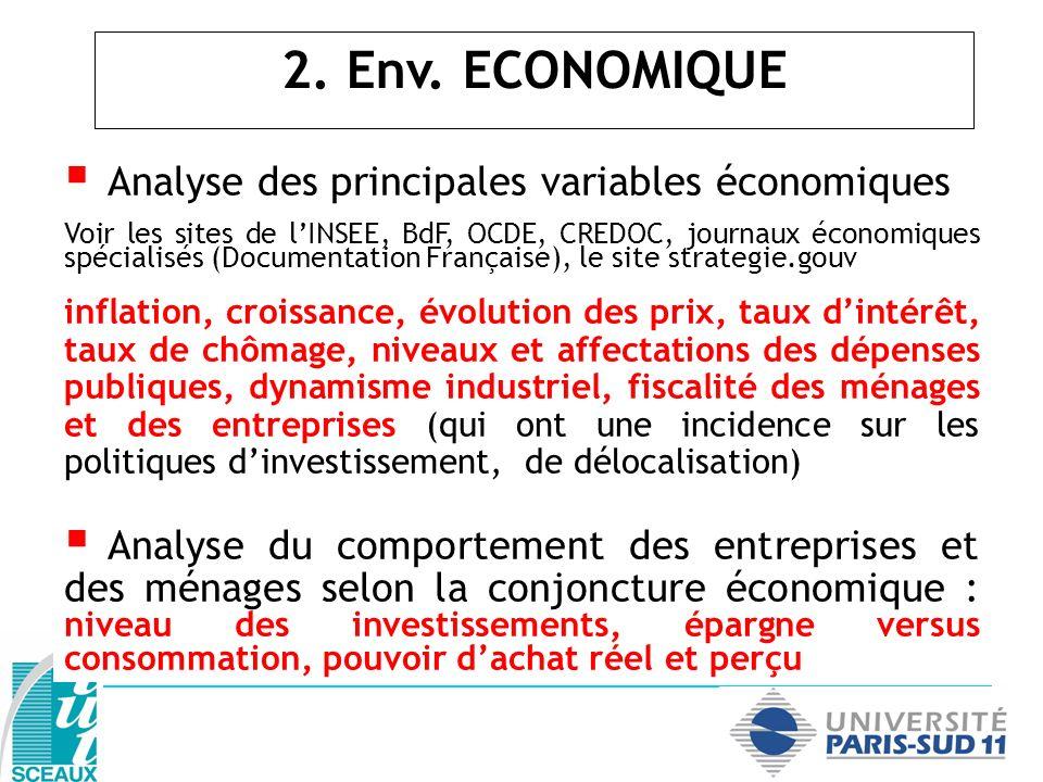 Analyse des principales variables économiques Voir les sites de lINSEE, BdF, OCDE, CREDOC, journaux économiques spécialisés (Documentation Française),