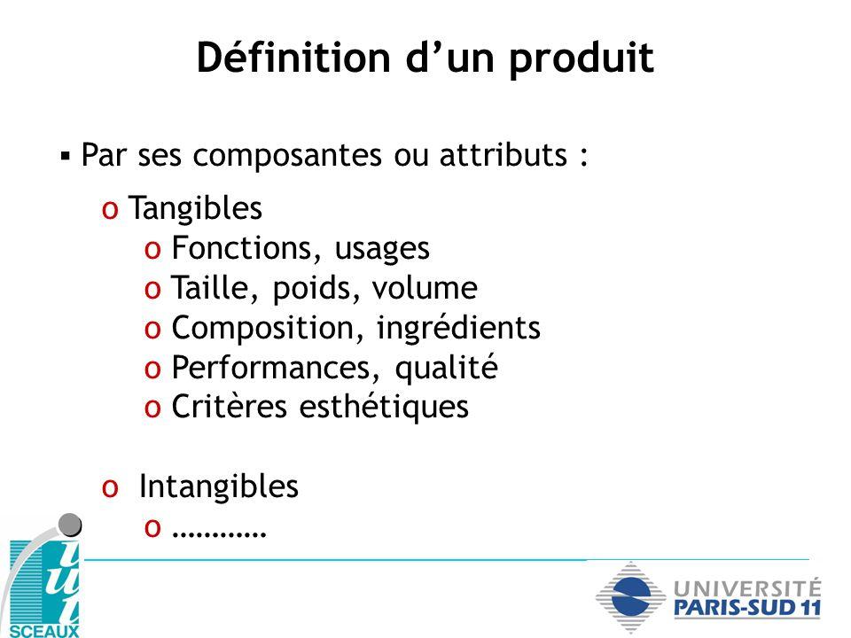 Par ses composantes ou attributs : o Tangibles o Fonctions, usages o Taille, poids, volume o Composition, ingrédients o Performances, qualité o Critèr