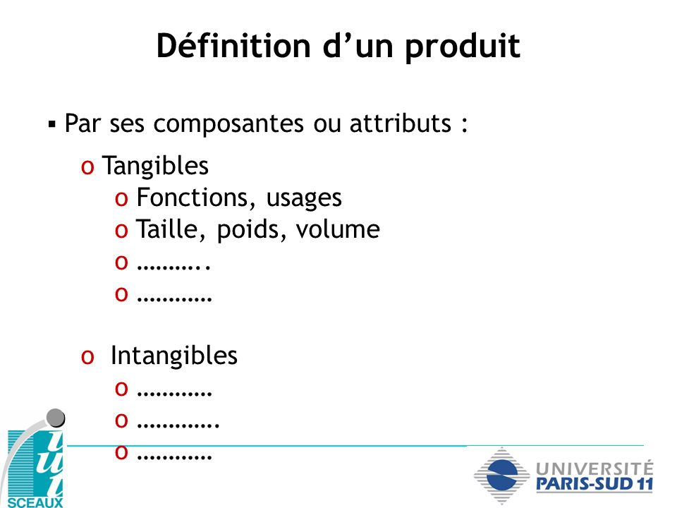 Par ses composantes ou attributs : o Tangibles o Fonctions, usages o Taille, poids, volume o ……….. o ………… o Intangibles o ………… o …………. o ………… Définiti
