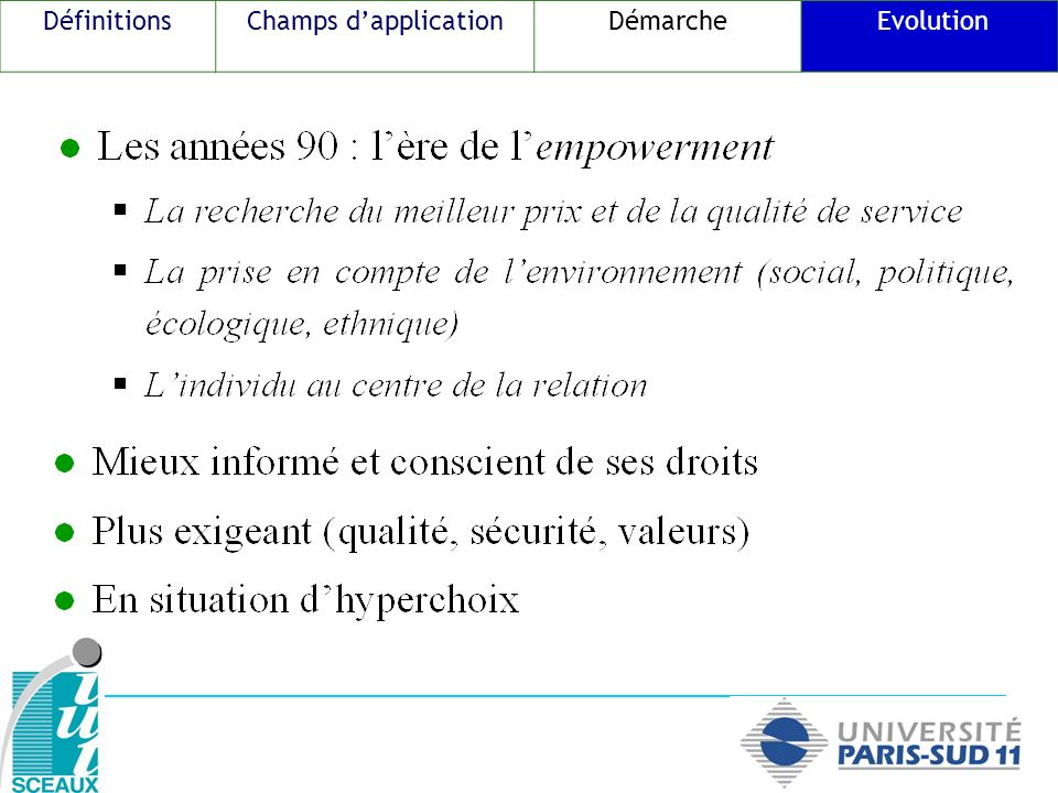 DéfinitionsChamps dapplicationDémarche Evolution