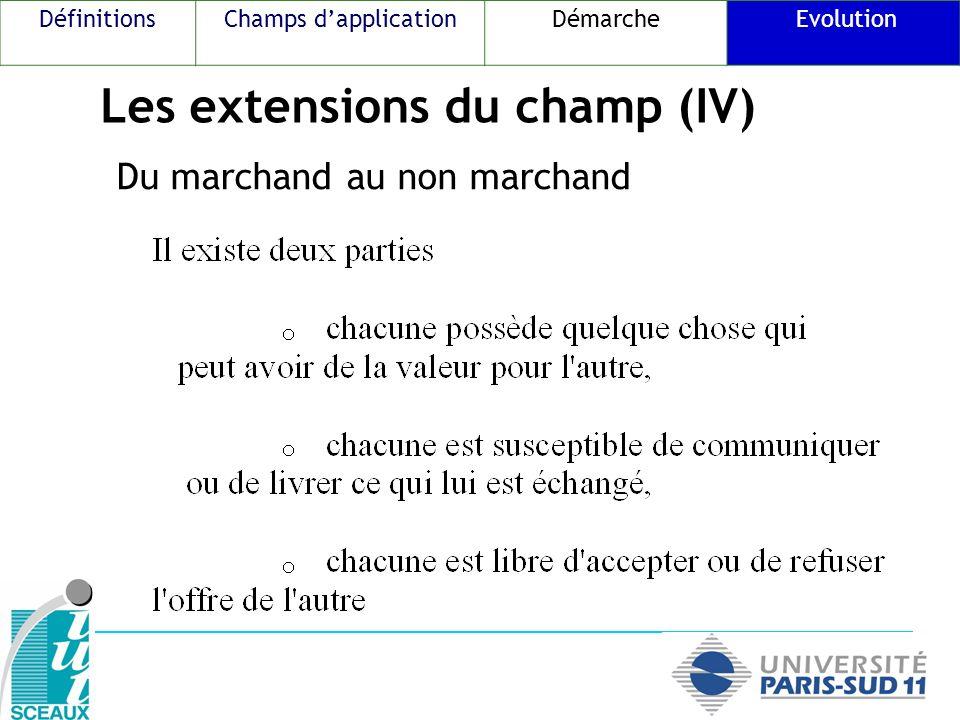 Les extensions du champ (IV) Du marchand au non marchand DéfinitionsChamps dapplicationDémarche Evolution