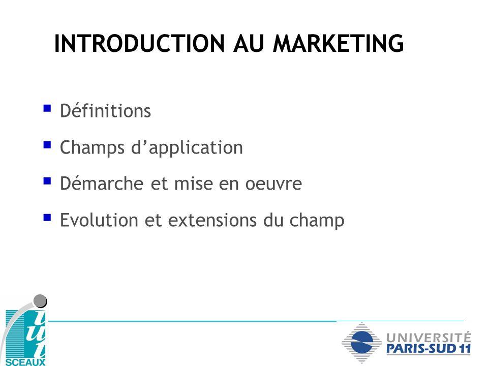INTRODUCTION AU MARKETING Définitions Champs dapplication Démarche et mise en oeuvre Evolution et extensions du champ