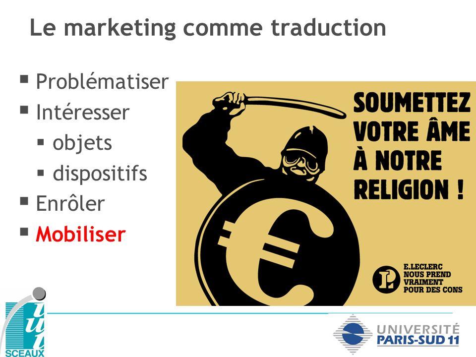 Problématiser Intéresser objets dispositifs Enrôler Mobiliser Le marketing comme traduction