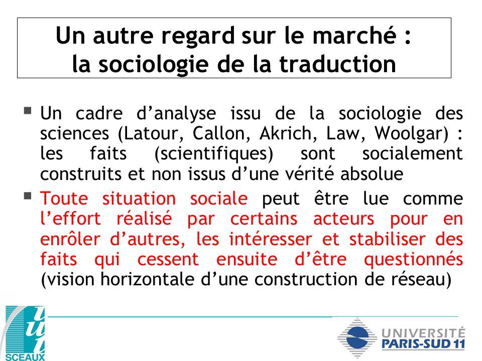 Un cadre danalyse issu de la sociologie des sciences (Latour, Callon, Akrich, Law, Woolgar) : les faits (scientifiques) sont socialement construits et