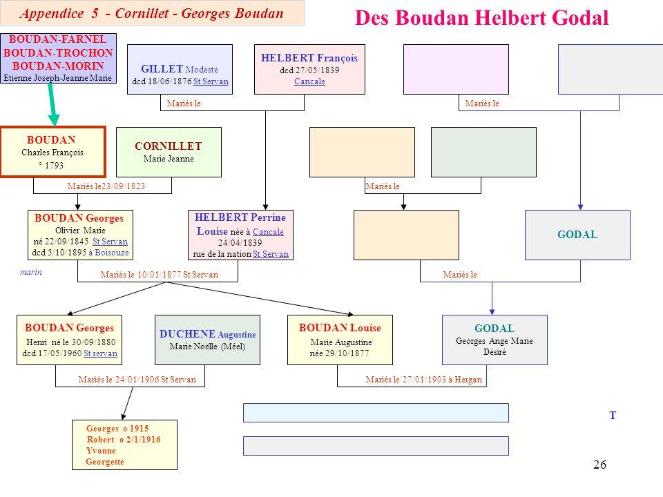 25 Des Boudan Helbert HELBERT Perrine Louise 24/04/1839 Cancale CORNILLET Marie Jeanne 1805 Mariés l 23/09/1823 St Servan Mariés le 10/01/1877 ST SErv