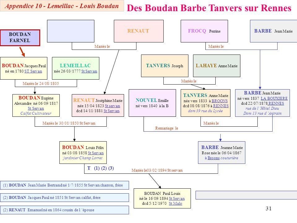 30 Des Boudan Lecoat Lerrant LECOAT Adélaïde Jeanne Thérèse née 05/11/1811 Mariés le 9 février 1825 Mariés le 19/11/1835 St servan Mariés le 14/10/187